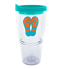 Blue and Orange Flip Flop 24 oz. Double Wall Tumbler with Straw #60850-BLUE