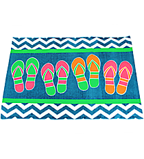 Blue Chevron Flip Flop Cotton Rug #60881-BLUE