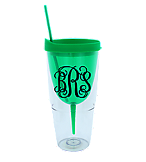 Green 16 oz. Double Wall Wine Glass Tumbler with Straw #60913-GREEN