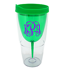 Green 16 oz. Double Wall Wine Glass Tumbler with Straw #60913-GRN
