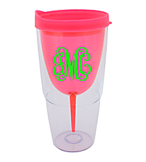 Pink 16 oz. Double Wall Wine Glass Tumbler with Straw #60913-PINK