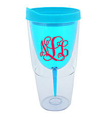 Blue 16 oz. Double Wall Wine Glass Tumbler with Straw #60913-BLUE