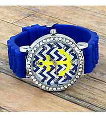 Royal Blue Anchor and Chevron Jelly Watch with Crystal Surround #DTA619-ROY/BLUE