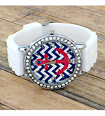 White Anchor and Chevron Jelly Watch with Crystal Surround #DTA619-WH