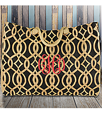 Large Black Trellis Juco Shoulder Tote #BIQ634-BLACK