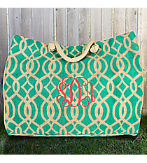 Large Mint Trellis Juco Shoulder Tote #BIQ634-MINT