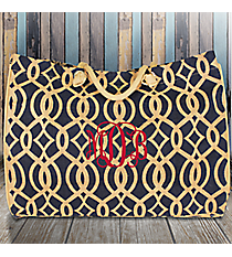 Large Navy Trellis Juco Shoulder Tote #BIQ634-NAVY