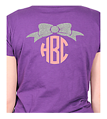 Bow Monogram Ladies Short Sleeve Fitted T-Shirt *Customizable