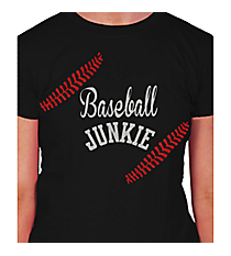 """Baseball Junkie"" Ladies Short Sleeve Fitted T-Shirt Design SP51 *Choose Your Colors"