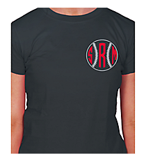 Baseball/Softball Monogram Ladies Short Sleeve Fitted T-Shirt Design SP52 *Choose Your Colors