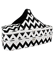 Black and White Chevron Insulated Double Casserole Tote #641-JH1412-BLK