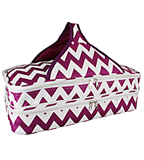 Purple and White Chevron Insulated Double Casserole Tote #641-JH1412-PURPLE