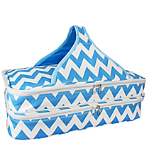 Turquoise and White Chevron Insulated Double Casserole Tote #641-JH1412-TURQ