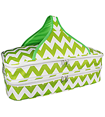 Green and White Chevron Insulated Double Casserole Tote #641-JH1412-GREEN