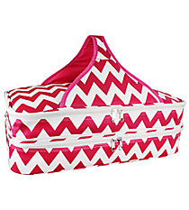 Hot Pink and White Chevron Insulated Double Casserole Tote #641-JH1412-HP