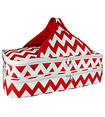 Red and White Chevron Insulated Double Casserole Tote #641-JH1412-RED