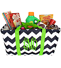 Navy and White Chevron with Lime Trim Large Collapsible Utility Tote #35880