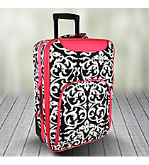 "20"" Black and White Damask with Fuchsia Trim Luggage #T6701-501-F"