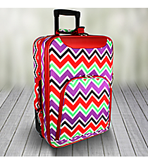 "20"" Red and Purple Chevron with Red Trim Luggage #T6701-170"