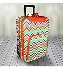 "20"" Lime Green and Khaki Chevron with Orange Trim Luggage #T6701-171"