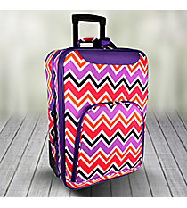"20"" Purple and Fuchsia Chevron with Purple Trim Luggage #T6701-172"