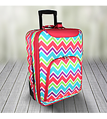 "20"" Pink and Light Blue Chevron with Pink Trim Luggage #T6701-173"