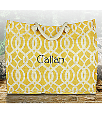 Gold and White Trellis Juco Box Tote #BIQ675-GOLD/WH