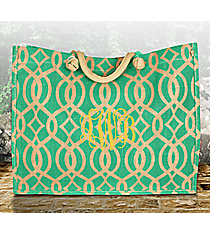 Mint Trellis Juco Box Tote #BIQ675-MINT