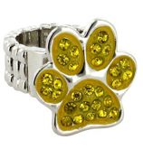 Yellow Crystal Paw Print Stretch Ring #QR1181-YEL