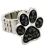 Black Crystal Paw Print Stretch Ring #QR1181-BLK