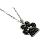 "17"" Black Crystal Paw Print Necklace #QN1190-BLK"