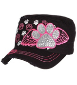 Black Bling Paw Print with Angel Wings Distressed Cadet Cap #T21BAR01-BLK