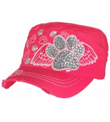 Hot Pink Bling Paw Print with Angel Wings Distressed Cadet Cap #T21BAR01-HPK