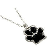 "17"" Black with Crystal Outline Paw Print Necklace #QN1191-BLK"