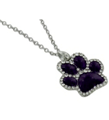 "17"" Purple with Crystal Outline Paw Print Necklace #QN1191-PURP"