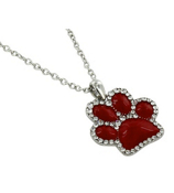 "17"" Red with Crystal Outline Paw Print Necklace #QN1191-RED"