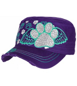 Purple Bling Paw Print with Angel Wings Distressed Cadet Cap #T21BAR01-PUR