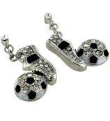 Crystal Soccer Ball and Shoe Dangle Earrings #QE1311-RH