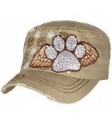 Khaki Bling Paw Print with Angel Wings Distressed Cadet Cap #T21BAR01-KHK
