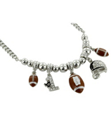 "18"" Silvertone and Crystal Football Charm Necklace #QN1181-RH"