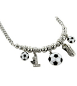"18"" Silvertone and Crystal Soccer Charm Necklace #QN1182-RH"