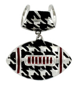 Houndstooth and Crimson Football Scarf Pendant #QPD3002-RH