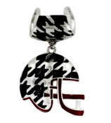 Houndstooth and Crimson Football Helmet Scarf Pendant #QPD3003-RH