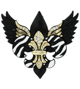 Goldtone, Jet, and Crystal Winged Zebra Fleur de Lis Pendant #AP0213-AGJC