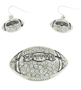 Silvertone Crystal Football Pendant and Earrings Set #AC1002-ASC