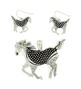 Crystal and Silvertone Dot Textured Horse Pendant and Earrings Set #AC0995-ASC