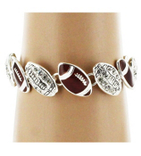 Crystal Accented Silvertone and Enamel Football Magnetic Bracelet #AB6344-ASB
