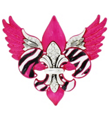 Silvertone, Hot Pink, and Crystal Winged Zebra Fleur de Lis Pendant #AP0213-ASPC