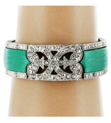 Turquoise and Silvertone Scroll Design Stretch Bracelet #AB6292-RHTQ