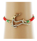 Crystal Goldtone Reindeer Red and Green Beaded Stretch Bracelet #AB6047-GR